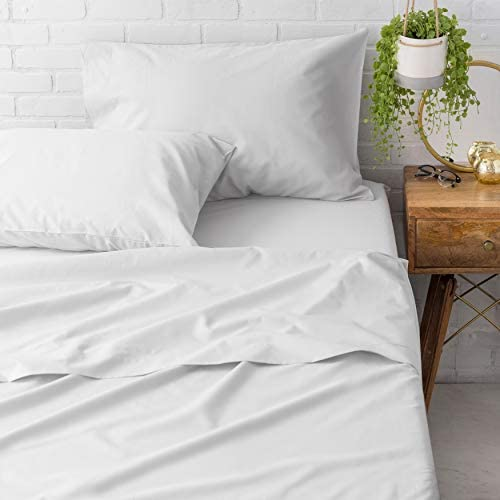 Welhome Soft Finish 100 Cotton Percale Sheet 4 Piece Set Full Size White 300 Thread Count Deep product image