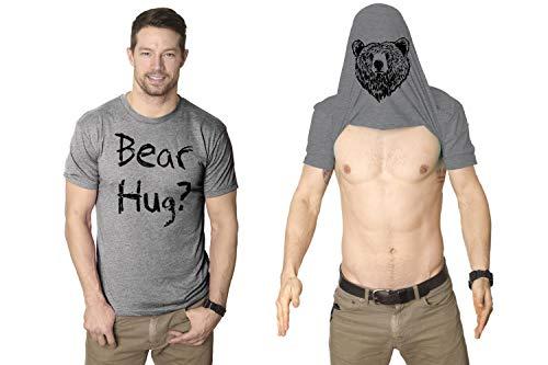 Mens Grizzly Bear Flip T Shirt Funny Hug Shirt Humorous Novelty Tee Crazy Humor (Light Heather Grey) - XL