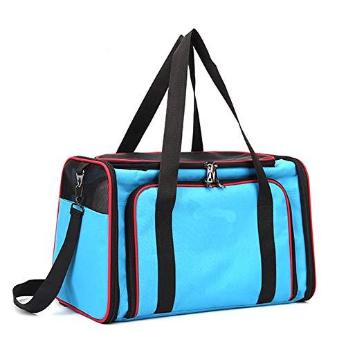 Dracol Bolsa de transporte expandible para gatos, plegable, para mascotas, con correa para el hombro en avión/coche, cómoda, transpirable, color azul