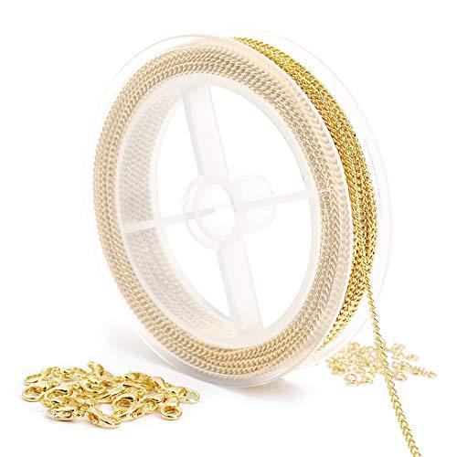 Cadena chapada en oro de 1,86 mm con cierre de mosquetón