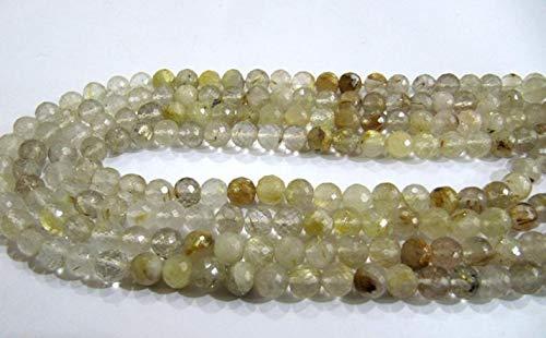 Shree_Narayani Oro natural rutilado 7mm redondo forma de bola facetado perlas 8 pulgadas largo semi precioso oro color perlas piedra natalicia perlas 1 hebra