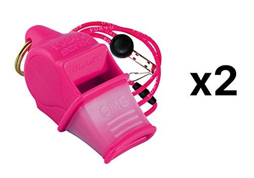 Fox 40 Sonik Blast CMG Whistle Lanyard Referee Outdoor Dog Safety Pink (2-Pack)