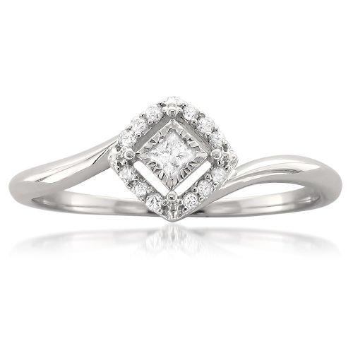 1/8 Carat Diamond, Prong-Set 10kt White Gold Princess-cut & Round Diamond Promise Ring (H-I, I2-I3) by La4ve Diamonds | Real Diamond Engagement Ring For Women | Gift Box Included (0.125 Ct Diamond)