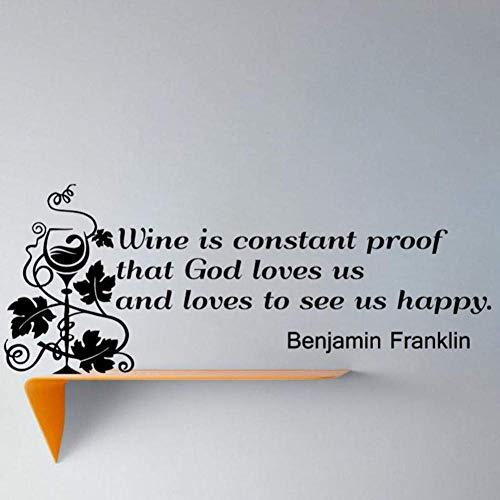 Wijn is Constant bewijs dat God houdt van Beroemde Zeggende Muursticker Wijnglas Home Decor Verwijderbare Woonkamer Decal Murals 59 * 21