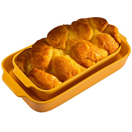 Hompiks Baking Dish Casserole Baking Dishes Set for the Oven Porcelain Bakeware Sets for Kitchen Dinner 2 Pack Yellow 10.63 x 6.3 Inch Baking Pans