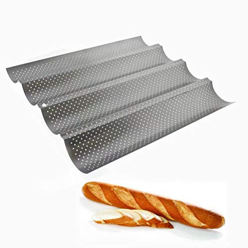 Emivery Perforated Baguette Pan 4 Gutter Oven Toaster Pan for Oven Baking