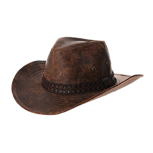 WITHMOONS Indiana Jones Hat Weathered Faux Leather Outback Hat GN8749 (Brown)