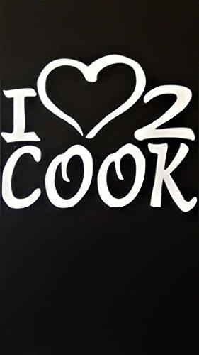 Chase Grace Studio I Love Cooking Chef Vinyl Decal Sticker White  Cars Trucks Vans SUV Laptops Wall Art 5.5' X 4.5' CGS532
