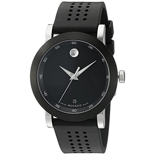 Movado Men's Museum Sport 42.5mm Black Rubber Band Steel Case Sapphire Crystal Swiss Quartz Watch 0606507