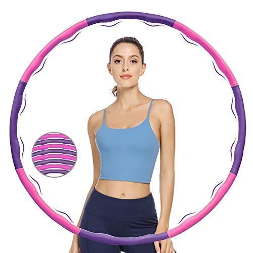 KOVEBBLE Hula Hoop Reifen für Erwachsene und Kinder, Hoola Hoop Reifen zur Fitnessübungen, Gewichtsabnahme, Bauchformung und Massage (Pink Purple)