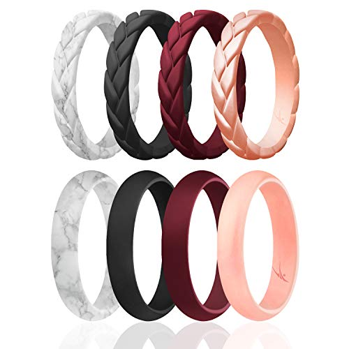 ROQ Silicone Rings for Women Thin Womens Silicone Rubber Wedding Rings Bands - Braided Flame Leaves and Dome Collection - Can Be Used as Stackable Rings - Maroon, Rose Gold, Marble, Black, Size - 6