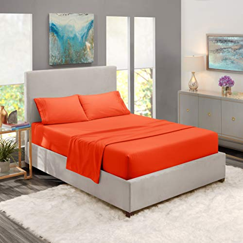 Nestl Bedding 4-teiliges Bettlaken-Set – 1800 tiefe Taschen – Hotel-Luxus-Bettlaken aus gebürsteter Mikrofaser – Spannbetttuch, Bettlaken, Kissenbezüge, Wasserbett – Orange