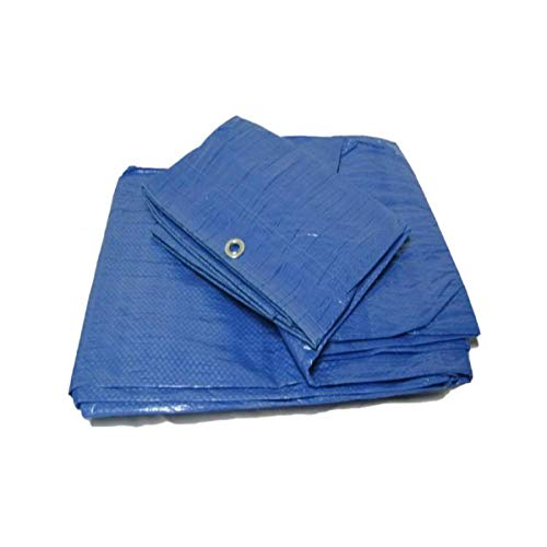 Yuzet Blue 4.5m x 6m Heavy Duty Waterproof Tarpaulin Ground Sheet Cover multipupose Cover for Roofs Garden Furniture Log Stores Caravan Camping Tent groundsheet uv Resistant Roofing Builder DIY