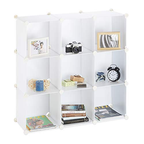 Relaxdays Regalsystem 9 Fächer, Raumteiler Kunststoff, Standregal offen, Badregal DIY, HBT: 95 x 95 x 32 cm, weiß