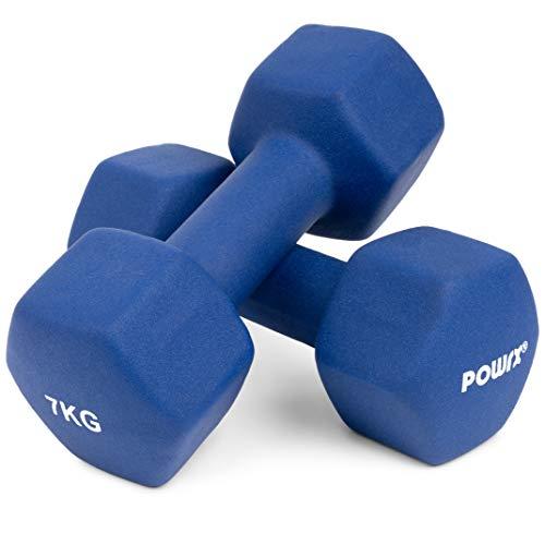 POWRX Manubri Pesi esagonali 14 kg Set (2 x 7 kg) + PDF Workout (Blu)