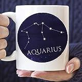 N\A Taza de café con Signo de horóscopo de la constelación de Acuario, Regalo de cumpleaños de febrero, Marzo, microondas, Apto para lavavajillas, Taza de cerámica