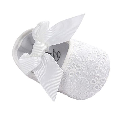 Baby Girls Princess Bowknot Soft Sole Cloth Crib Shoes Sneaker White, 0-3 Months
