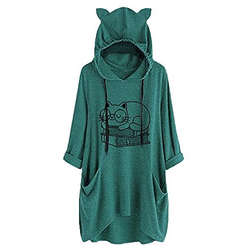 Lenfeshing Top Suelto con Capucha Estampado de Longitud Media para Mujer Camiseta con Estampado de Gato...
