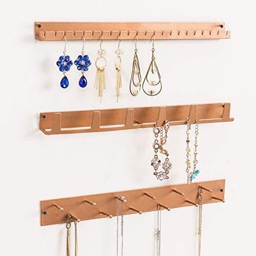 MyGift Wall Mounted Rose Gold Metal Jewelry Organizer Racks, Earrings Necklace Hanger Hooks, 3-Piece Set