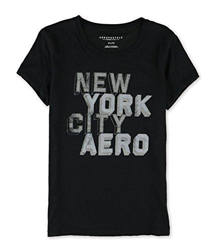AEROPOSTALE Womens Block New York City Graphic T-Shirt, Black, Small
