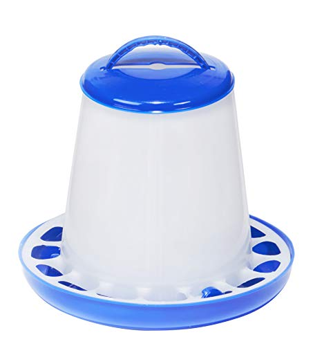 Plastic Poultry Feeder (Blue & White) - Durable Feeding Container with Carrying Handle for Chickens & Birds (1.5 Lb) (Item No. DT9854)