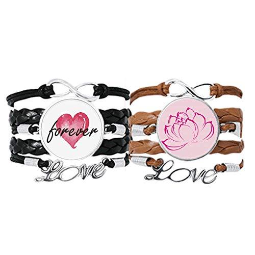 DIYthinker Flower Plant Lotus Flower Pattern Bracelet Correa de mano Cuerda de cuero Forever Love Wristband Set doble