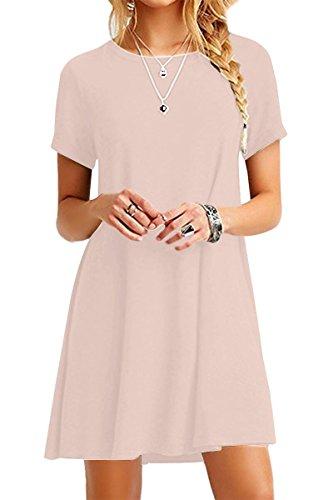 YMING Damen Basic Longshirt Casual Kurzarm Minikleid Shirtkleid,Kaki,S/DE 36