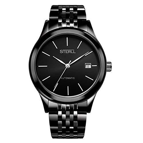 STERLL Herren Armbanduhr Mechanische Uhr Saphirglas Kratzfest Panzerglas Schwarz Verstellbare Länge Geschenkverpackung Geschenk für Freund