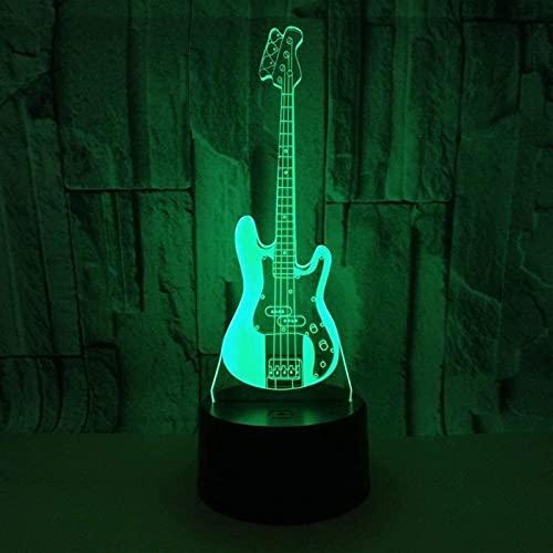 CMMT Lámpara de escritorio guitarra eléctrica LED colorido gradiente 3D lámpara de mesa estéreo táctil control remoto USB noche luz escritorio decoración creativa adornos regalo