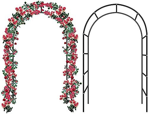 WXking - Arco da giardino con struttura in acciaio da giardino, montaggio autonomo, gazebo in metallo per esterni, giardino, cortile, cortile, rampicante, rose, fiori (dimensioni: nero)