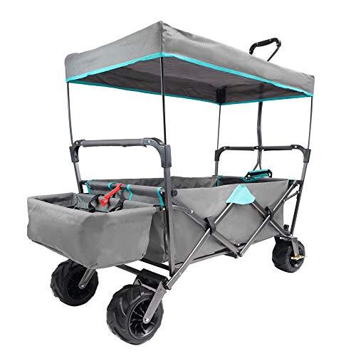 Lemmy Max+ Faltbarer Bollerwagen LMY400GYT, Campingwagen, Einkaufswagen,Transportwagen,Mit Dach,2 Dreieckiges Sicherheitsgurtsystem,Tragfähigkeit 80kg (Grau+Tuerkis)