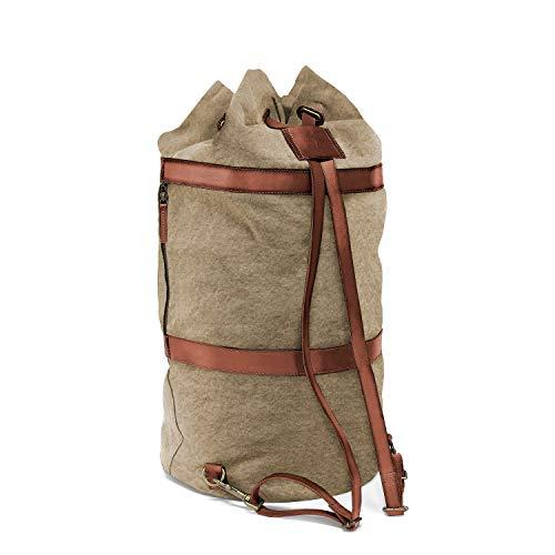 DRAKENSBERG Duffel Bag - Sacca da marinaio, borsone e zaino grande in stile rètro vintage, realizzato a mano in qualità premium, 60 L, tela e pelle, beige kaki, marrone, DR00105