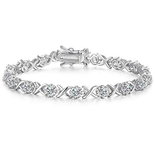 Caperci Sterling Silver Cubic Zirconia XO Tennis Bracelet 7.25'' - Best Christmas Jewelry Gift for Her