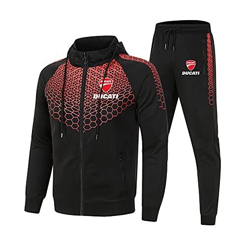 GPOL Conjunto de chándal para hombre y mujer Traje de jogging D.u-CA.ti Suéter con capucha a rayas de 2 piezas + Pantalones traje deportivo Hombres/Negro/M