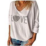 Pullover Donna Maglia a Manica Lunga Maglietta Casual Draped Camicia Long Maglione Top Moda Scollo a V Presa Stampa Tempo Libero Maniche Lunghe (4XL,4Bianca)