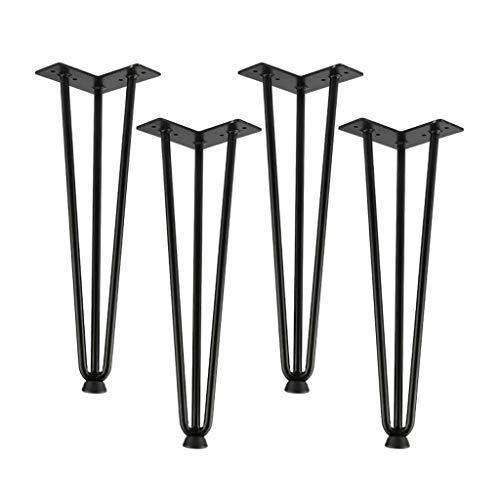 MJIA 4 PCS Black Coffee Table Pieds 16 Pulgadas para Muebles de Metal Pintas de Silla Muebles de Escritorio de Hierro para el baño de pie de cómoda