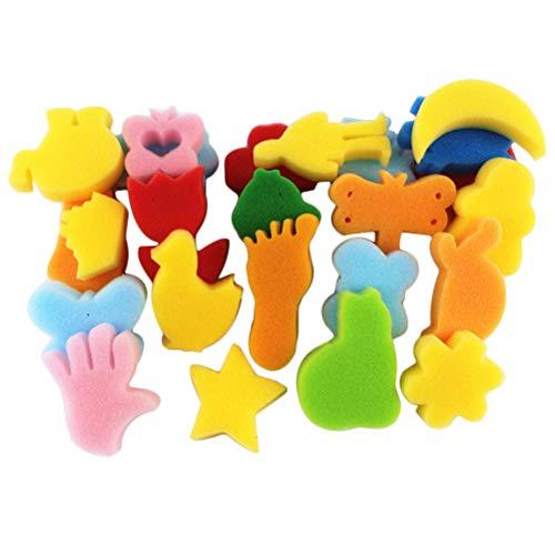 Toyvian Schwammmalerei formt 24pcs für Kleinkinder sortierten lernenden Schwamm des Musters früh für das Kinderversenden