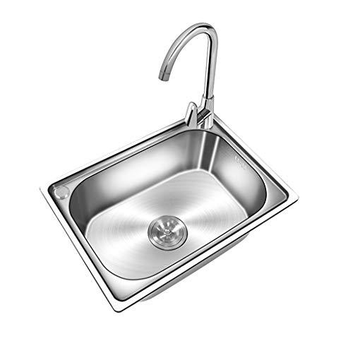 Küchenzubehör Edelstahl Kitchen Sink Undermount One verdickte manuelle Spüle Haushalt Wasserhahn S-förmige ABS-Wasserleitung-Paket (18,5 x 13,8 x 6,7 '')