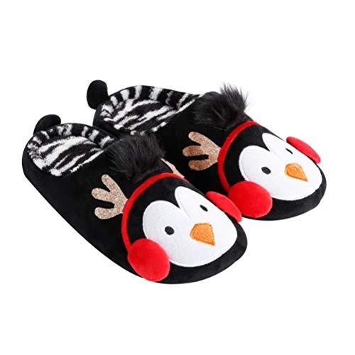 Holibanna Zapatillas de Felpa Forma de Pingüino Zapatillas de Casa Cálidas de Invierno Parejas Planas Zapatillas Antideslizantes Piso Zapatos de Interior Zapatillas de Navidad Regalo 1 par