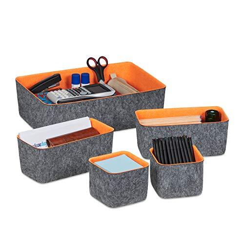 Relaxdays Schubladen Organizer Filz, 5-teiliges Ordnungssystem für Schreibtisch, 3 Größen, Filzkörbchen, grau/orange, 1 Stück