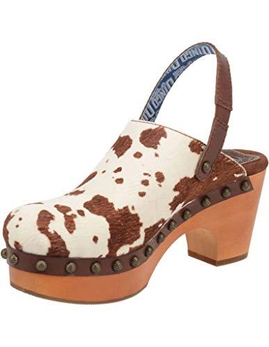 Dingo Fashion Shoes Womens Clog Cowhide Slip On Stud 8.5 M Brown DI146