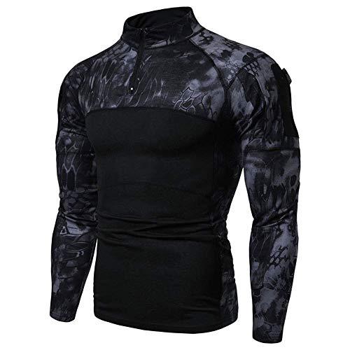ZHANGYY Chemise à Manches Longues 1/4 Zip pour Hommes Chemise de Combat de Style Militaire avec Poches Top Airsoft Vêtements de Plein air pour la Chasse Camping Randonnée