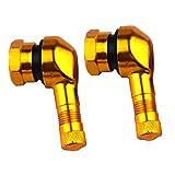 perfk 2 Stück Ventilschaft 90 Grad Winkel Motorrad-Rennreifen Ersatz Reifenventilen Universal Reifenventil Metallventil Felgenventil - Golden