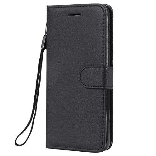 Hülle für Nokia 7.1 2018 Handyhülle Schutzhülle Leder PU Wallet Bumper Lederhülle Ledertasche Klapphülle Klappbar Magnetisch für Nokia7.1 - ZIKT051481 Schwarz