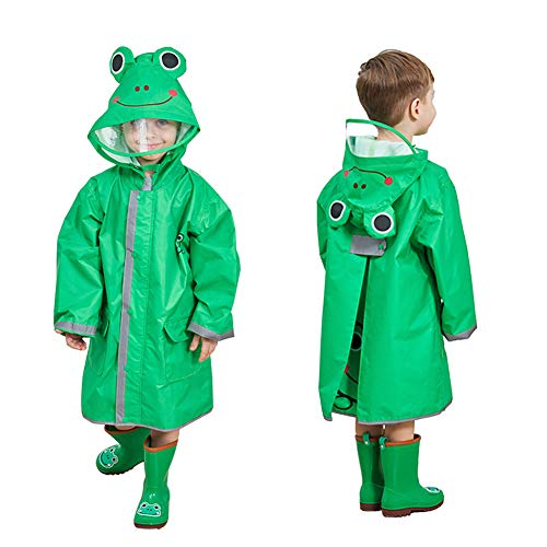 Kids Rain Coat with Hood,3D Cartoon Unisex Children Rainwear Poncho with Storage Bag,Hooded Rain Jacket with Backpack Cover,Cute Toddler Raincoat,Lightweight Rain Wear for Boy for Girl (Green, S)