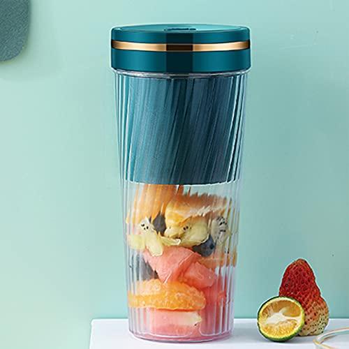 FUFRE Mini exprimidor eléctrico, batidora de frutas, zumo con 2 cuchillas de 1500 mAh, vaso de 350 ml, para casa, oficina, viajes, exterior (verde)