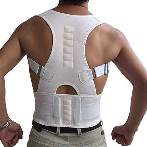 Haltungskorrektur für Männer und Frauen, verstellbare obere Rückenstütze, Korsettschulter für Erwachsene Rückenstütze für Lendenbandage (schwarz)(Color:White,Size:Large)