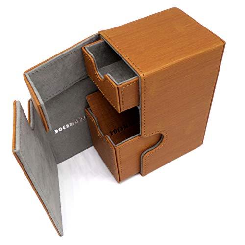 docsmagic.de Premium Magnetic Tray Box (80) Gold + Deck Divider - MTG - PKM - YGO - Kartenbox Gold