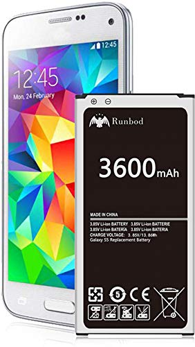 Galaxy S5 Battery, Runbod 3600mAh High Capacity Upgraded Replacement Battery for Samsung Galaxy S5 [I9600, G900F, G900T (T-Mobile),G900V (Verizon), G900A (AT&T),G900P(Sprint)]