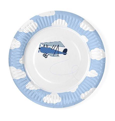 12 assiettes Thème nuages et aereoplani – Bleu ciel et blanc – pour anniversaires, fêtes, Party, Enfants – Assiette en Papier jetables 18 cm